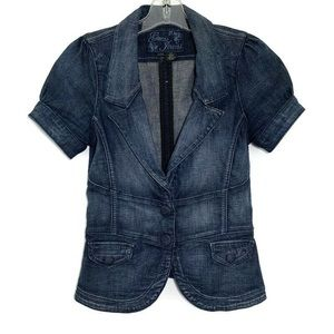 Guess dark wash denim cap sleeve jean jacket
